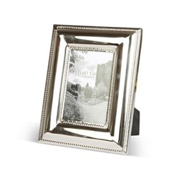 "Beaded Edge Photograph frame, 4 x 6"", stainless steel and glass"