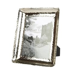 "Champagne Hammered Photograph frame, 6 x 8"", stainless steel and glass"