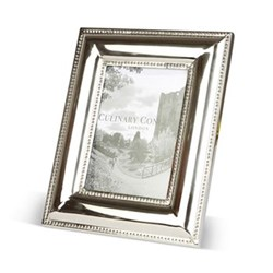 "Beaded Edge Photograph frame, 5 x 7"", stainless steel and glass"
