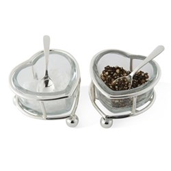 Salt and pepper set with spoons 4.5 x 7 x 6cm