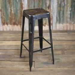 Chari Bar stool, 79 x 30 x 30cm, distressed black