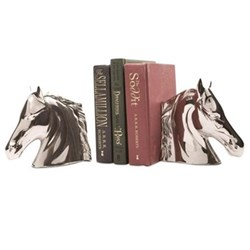Equestrian - Horse Head Pair of bookends, H13 x W28 x D5.5cm, nickel plate