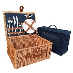 Blue Tweed Picnic hamper - 2 person, 41 x 30 x 19cm, light willow