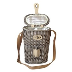 2 bottle chilled carry basket, 26 x 15 x 37cm, antique wash with insulated cooler lining