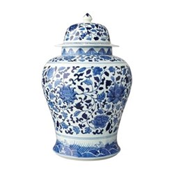 Giant hand-painted lidded jar Dia35 x H51cm