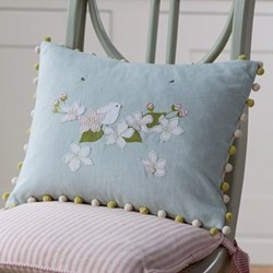 Apple Blossom Flower Cushion, 45 x 35cm, duck egg