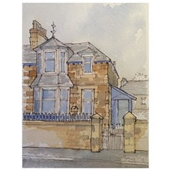 Bespoke architectural portrait, mounted A5