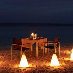 Romantic beach dinner for two
