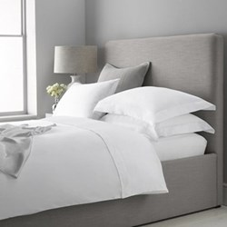 300 Thread Count Plain Sateen Super king size deep fitted sheet, W180 x L200 x H34cm, white