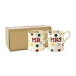 Polka Dot - Mr & Mrs Pair of mugs, 1/2 pint
