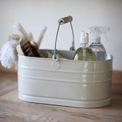 Enamel utility bucket, H19 x W36 x D20cm, chalk