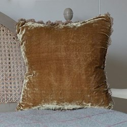 Velvet cushion, 45 x 45cm, olive with fan edge
