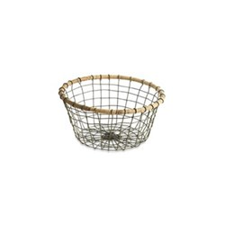 Koba Round bowl - small, D23cm, distressed grey and wicker