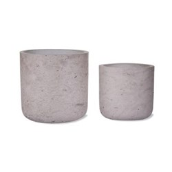 Set of 2 straight cement plant pots 14.5 x 15cm, 11.5 x 12cm