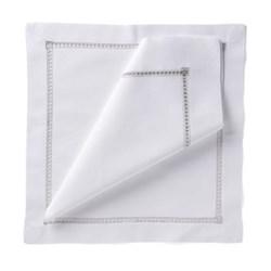 coloured hemstitch Set of 4 napkins, 54 x 54cm, silver