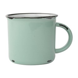 Tinware Set of 4 mugs, 10.2 x 9.5cm, pea green/ stoneware
