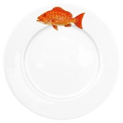 Red Snapper Flat rimmed plate, 26cm