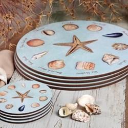Sea Shells Set of 4 round table mats, 25.5cm