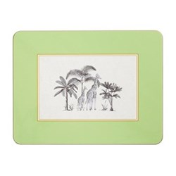 Harlequin Design Extra large serving mats, 38.2 x 29.2cm, green with gold edge