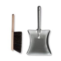 Galvanised dustpan and brush