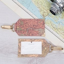 Luggage tag with personalised map cover 12 x 7cm