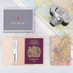 Passport case with personalised map cover 14 x 10cm