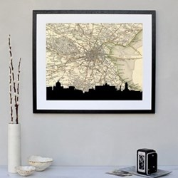 Dublin Framed silhouette image with personalised map, 43 x 48cm, black frame
