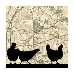 Chickens Unframed silhouette image with personalised map, 35 x 30cm