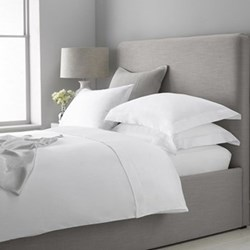 300 Thread Count Plain Sateen King size deep fitted sheet, W150 x L200 x D34cm, white