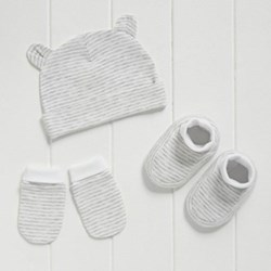 Strip hat, mitt & bootie set 6-12 months