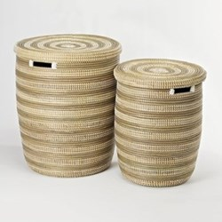 African Laundry basket with flat lid, 38 x 33cm, natural/grey stripes
