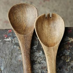 Salad servers with long handles, 46cm, mango wood