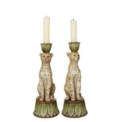 Lakadema Pair of candleholders, D9 x H25cm, painted resin
