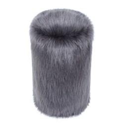 Doorstop, 27 x 15cm, faux fur with leather handle - steel