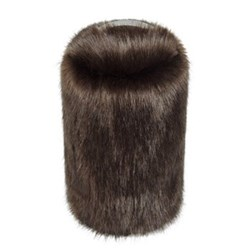 Doorstop, 27 x 15cm, faux fur with leather handle - treacle