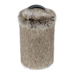 Doorstop, 27 x 15cm, faux fur with leather handle - truffle