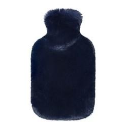 Hot water bottle, 23 x 36cm, faux fur - blue cloud