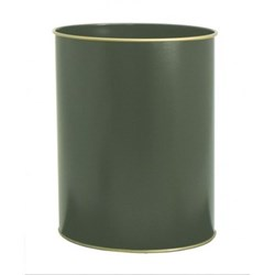French Shops Wastepaper bin with hand guilded gold rim, H28cm, bottle green