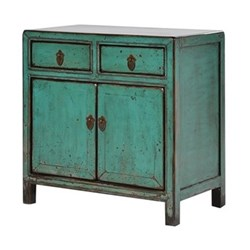 Oriental Small Chinese cupboard with 2 doors, 67 x 67 x 37cm, painted green