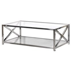 Terano X Ends Coffee table, 45 x 70 x 130cm, polished steel and glass