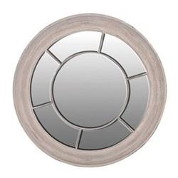 Round paned mirror, 121cm, white wash finish