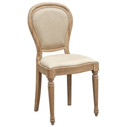 Dining chair, 93 x 46 x 45cm, weathered oak and linen