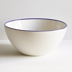 Cobalt Blue Rim Serving bowl, 30cm, half glazed porcelain