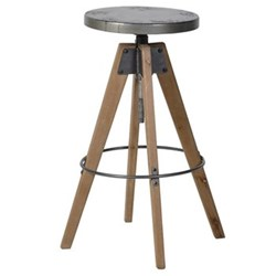 Bar stool, 73 x 51cm, wood and metal