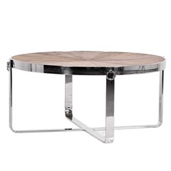 Round coffee table, 46 x 101cm, wood with steel frame