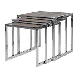 Nest of 3 tables, 55 x 55 x 55/51 x 51 x 55/47 x 47 x 55cm, wood with steel frame