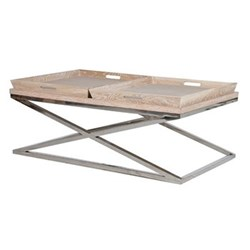 Double tray coffee table, 46 x 65 x 120cm, steel and oak