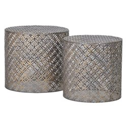Pair of cylindrical end tables, 41 x 45/39 x 38cm, iron