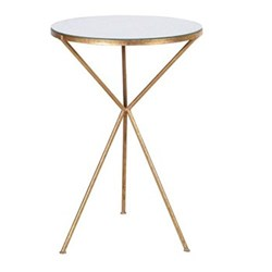 Tripod lamp table, 64 x 43cm, gold finish