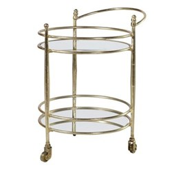 Drinks trolley, 66.5 x 57 x 45cm, glass & brass